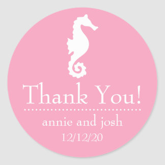 Seahorse Thank You Labels (Pink) Round Sticker