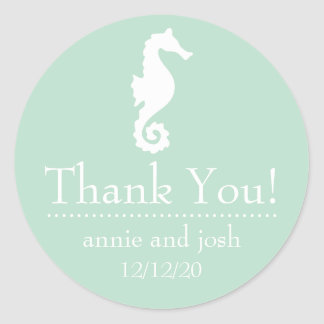 Seahorse Thank You Labels (Sage Green) Round Stickers