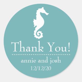 Seahorse Thank You Labels (Sea Foam) Classic Round Sticker