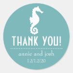 Seahorse Thank You Labels (Sea Foam) Round Sticker