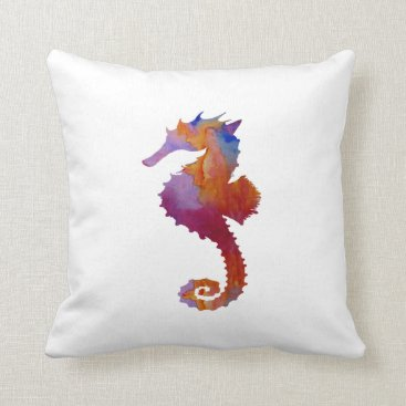 Beach Themed Seahorse Throw Pillow
