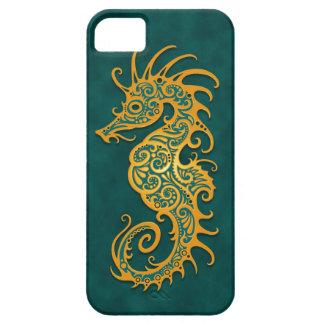 Seahorse tribal azul de oro iPhone 5 fundas