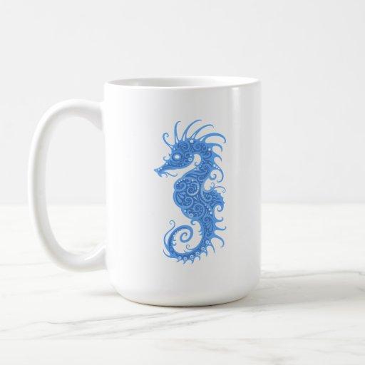 Seahorse tribal azul taza