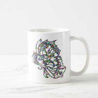Seahorse tribal de la mariposa del tatuaje taza de café