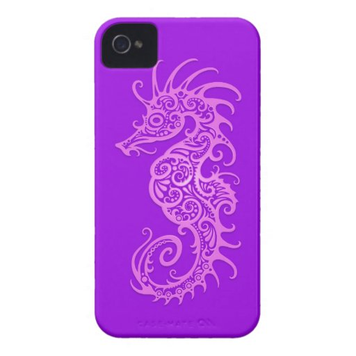 Seahorse tribal púrpura iPhone 4 protectores