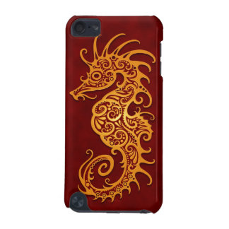 Seahorse tribal rojo de oro