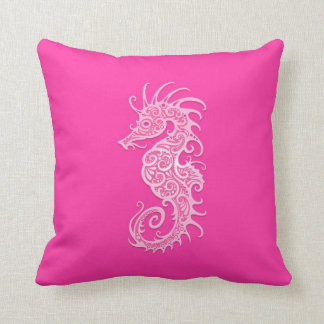 Seahorse tribal rosado cojin