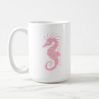 Seahorse tribal rosado taza de café