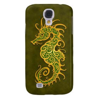Seahorse tribal verde de oro
