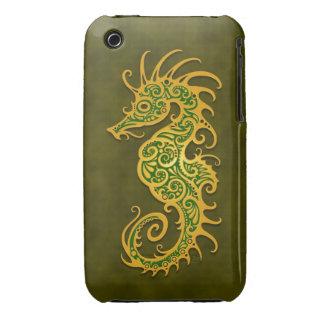 Seahorse tribal verde de oro iPhone 3 fundas