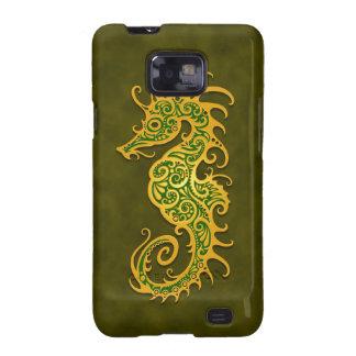 Seahorse tribal verde de oro galaxy SII funda