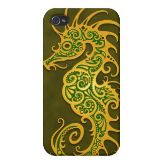Seahorse tribal verde de oro iPhone 4/4S funda
