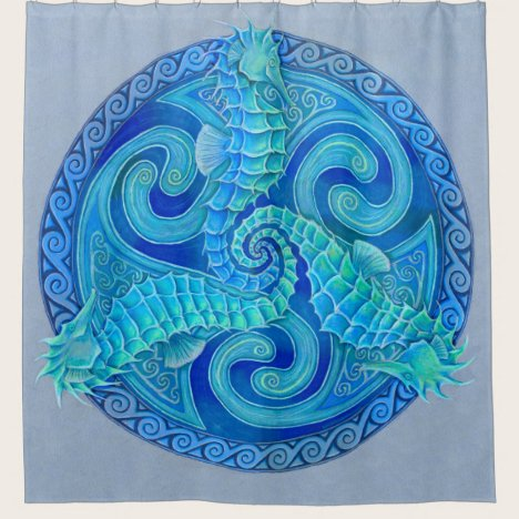 Seahorse Triskele Celtic Mandala Shower Curtain
