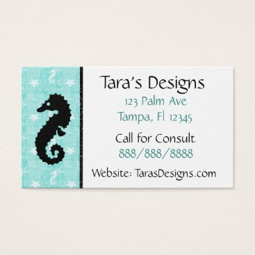 Professional Business Seahorse Tropical Oceanic Teal Business Cards
