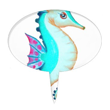 Beach Themed Seahorse Turquoise Cake Topper