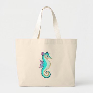 Beach Themed Seahorse Turquoise Large Tote Bag
