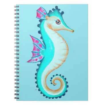 Beach Themed Seahorse Turquoise Notebook