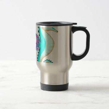 Beach Themed Seahorse Turquoise Travel Mug