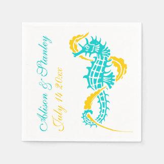 Seahorse turquoise, yellow beach wedding disposable napkin