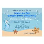 Seahorse Under the Sea Birthday Party Invitations