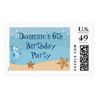 Seahorse Under the Sea Birthday Postage Stamps