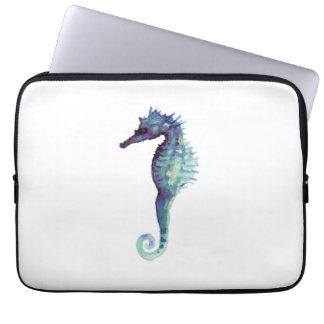 Seahorse underworld white laptop sleeve seahorses