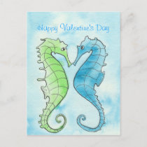 Seahorse Valentine Holiday Postcard