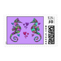Seahorse Valentines Postage Stamps