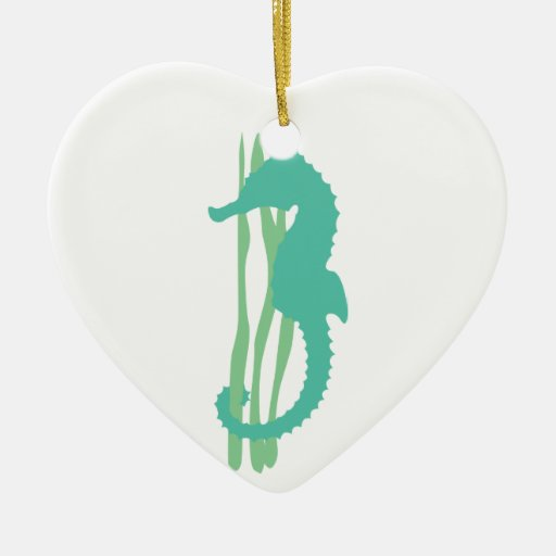 Seahorse verde con la hierba del mar adorno navideño de cerámica en forma de corazón