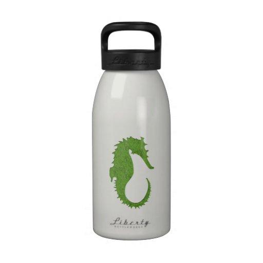 Seahorse verde del musgo botallas de agua