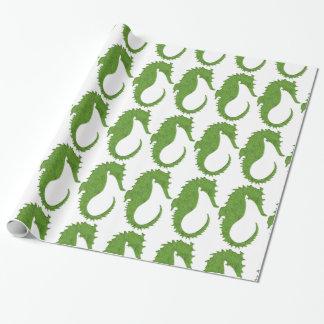 Seahorse verde del musgo papel de regalo