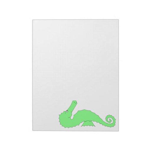 Seahorse verde en blanco bloc de notas