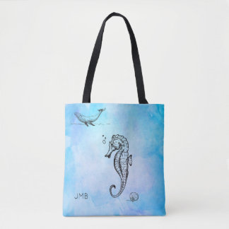 Seahorse, Whale and Seashell on Blue Watercolor Tote Bag