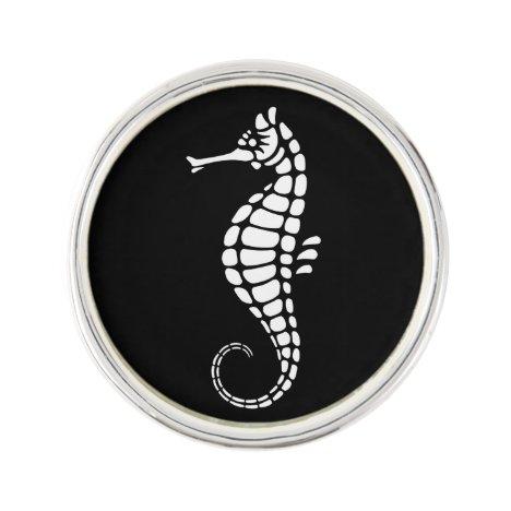Seahorse White Lapel Pin