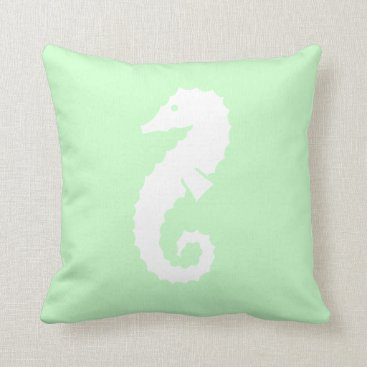 Beach Themed SEAHORSE WHITE on light SEAFOAM GREEN  pillow