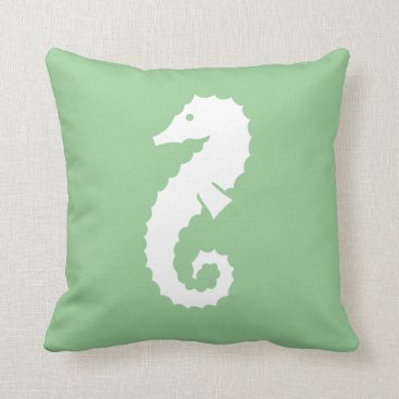 Beach Themed SEAHORSE WHITE on SEAFOAM GREEN  pillow