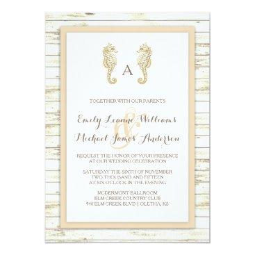 Beach Themed Seahorse Whitewashed Wood Beach Wedding Invitation