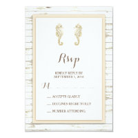 Seahorse Whitewashed Wood Beach Wedding RSVP Card