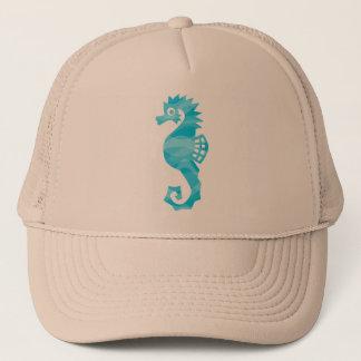 Seahorse with aqua waves trucker hat