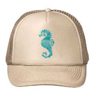 Seahorse with aqua waves trucker hat