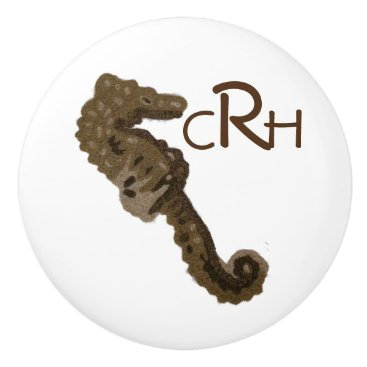 Beach Themed Seahorse with Personalzed Monogram Ceramic Knob