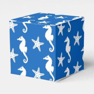 Seahorse y estrellas de mar - blanco en azul de cajas para detalles de boda