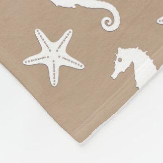 Seahorse y estrellas de mar - blanco en moreno de manta de forro polar