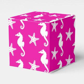 Seahorse y estrellas de mar - blanco en rosa cajas para detalles de boda