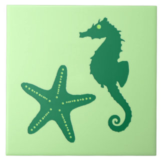 Seahorse y estrellas de mar - cal y verde azulejo cuadrado grande
