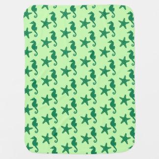 Seahorse y estrellas de mar - cal y verde mantas de bebé