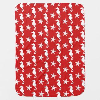 Seahorse y estrellas de mar - rojo coralino y manta de bebé
