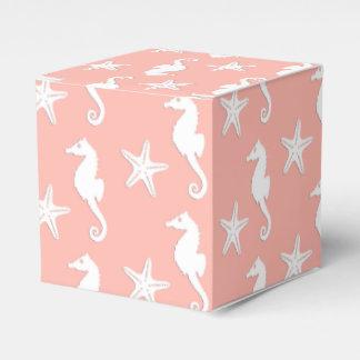 Seahorse y estrellas de mar - rosa coralino ligero caja para regalo de boda