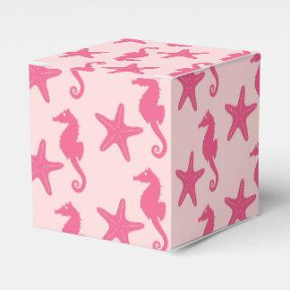 Seahorse y estrellas de mar - rosa del coral cajas para detalles de boda
