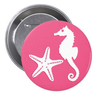 Seahorse y estrellas de mar - rosado coralino y pin redondo 7 cm